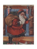 Santa Claus Touching His Nose on Way Up Chimney