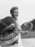 1920s-1930s Boy Tennis Player Holding Racket Net and Ball