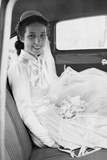 Bride in the Backseat of Car  Ca 1950