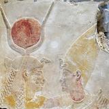 Painted Limestone Fragment of Isis Greeting Nectanebo II