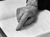 1940s Hand of Elderly Man Reading Bible Index Finger Following Along Passage
