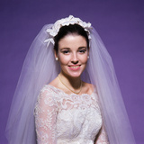 1960s Young Woman Bride Portrait Bridal Veil Head Shoulders Smiling Pearls