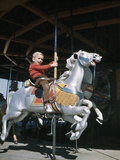 1950s Excited Boy Riding Carved Wooden Carousel Merry-Go-Round Horse