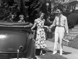 1930s Family of Four Getting into Convertible Automobile with Picnic Basket and Thermos Jug