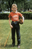 1958 Little Boy Outside with Baseball Bat and Glove