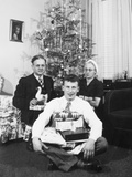 Eighteen Year Old Man with His Presents at Christmas  Ca 1945