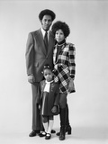 1970s African American Family Father Mother Daughter Standing Together