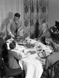 1950s 3 Generations Thanksgiving Dinner with Father Carving Turkey