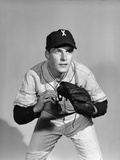 1950s Portrait Baseball Player Poised for Action