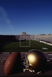 Notre Dame Football Helmet and Football at Notre Dame Stadium