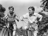 1930s-1940s Two Boys Riding Racing Bicycles