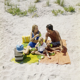 1970s Family Man Father Woman Mother Boy Son Picnic on Beach Ocean City New Jersey USA