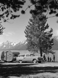 1950s Family Station Wagon and Camper at Jackson Lake  Wyoming