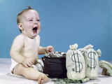 1960s Crying Shouting Baby with Money Bags and Pot of Coins Win Lottery Fortune Wealth Tears of Joy