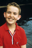 Portrait Young Boy in Red Shirt Smiling