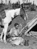 1920s-1930s Woman Sitting Outside of Tent Next to Pinto Horse Pouring Syrup from Tin onto Pancakes