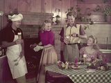 1950s 2 Couples Cooking Picnic in Rustic Kitchen Drinking Beer