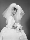 1960s Bride Portrait in Wedding Dress Veil Bridal Bouquet