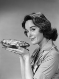1950s-1960s Woman Smiling Holding Freshly Baked Pie