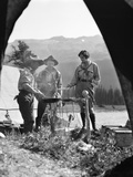 1930s Campsite Bow Lake Alberta Canada 2 Men 1 Woman Standing around Campfire