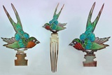 British Arts and Crafts Hair Combs with Swallows