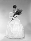 1960s Pretty Young Woman in Evening Dress at Beauty Pageant Wearing Fur Stole and Tiara