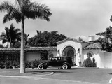 1930s Car in Circular Driveway of Tropical Stucco Spanish Style Home in Sunset Islands  Miami Beach
