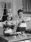 1950s Two Children Playing Doctor Nurse