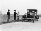1920s-1930s Man Driving Ford Model a Car 3 Boys Hitchhiking