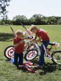 1980s Two Boys Twins Decoration Bikes with Patriotic Crepe Paper and Flags