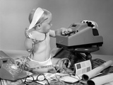 1960s Baby with Adding Machine Telephone Blueprints Paint Samples and Tape Measure
