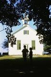 Boy and Girl Waiting Near Schoolhouse