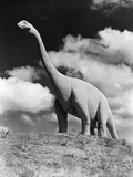 1950s Statue of Large Extinct Gigantic Brontosaurus on Hilltop Jurassic Tourist Attraction