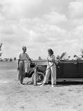 1930s Golfers Couple Man Woman Beside Car