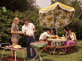 1970s Group Teenagers Boys Girls Backyard Grilling Table Umbrella