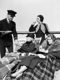 1920s-1930s Three Women Being Served Tea by a Steward on Board an Ocean Liner