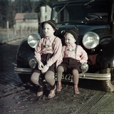 Two Brothers Sit on the Bumper of the Family Mercedes Benz in Germany  Ca 1949