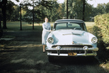 1955 Woman Standing Beside 1954 Mercury Automobile