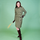 1960s Young Woman Modeling Green Wool Knit Two Piece Suit