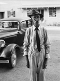 Portrait of Old Man Wearing Hat Glasses Tie and Suspenders Car in Background