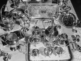 1950s Still Life Overhead View of Assortment of Silver Service Pieces