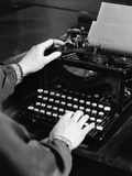 1930s Woman's Hands Typing Business Letter at Manual Typewriter
