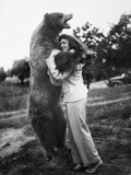 Woman Embraces a Stuffed Bear  Ca 1940