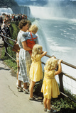 Mother and Children Looking at Niagara Falls New York