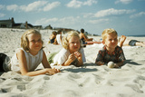 3 Children Lying on the Beach at the Jersey Shore