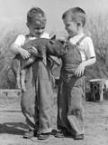 Boys in Striped Overalls Holding Piglet