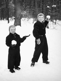 Two Brothers Play in the Snow  Ca 1950
