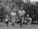 1960s Family Picnic Walking Toward
