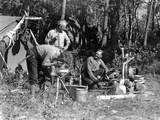 1930s Three Men at Campsite One Washing His Face at Tripod Wash Stand the Other Tending Campfire