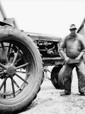Farmer Is a Blur of Activity Working on His Tractor  Ca 1938